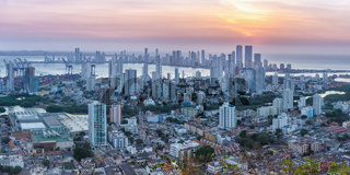 Cartagena skyline panorama Colombia city skyscrapers sunset twilight