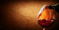 Wine on cracked clay background