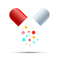 Open medicine pill with colorful active components on white