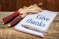 give thanks handwriting in sketchbook