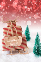 Vertical Christmas Sleigh On Red Background, Text Goodbye 2018