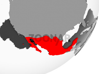 Mexico in red on grey map