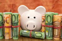 Piggy bank with rolled euro currency