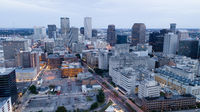 Night falls as storm clouds swirl over downtown New Orleans