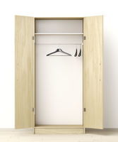 Front view of empty wardrobe