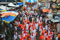 PUNE, INDIA, August 2011, People with dhol tasha pathak during Ganesh Procession.