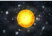 Bright sun star with light rays on deep space background with bright stars and constellations
