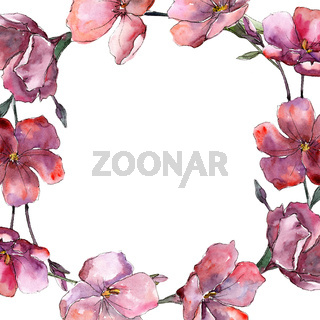 Wildflower pink flax. Floral botanical flower. Frame border ornament square.