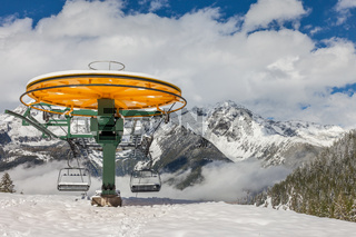 Chairlift on the Klausberg in winter