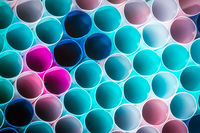 Macro photo of plastic drink straw.concept of recycling to conserve the environment