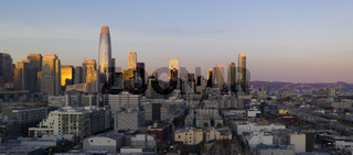 Sunset Light On New Buildings in The Downtown City Skyline of San Francisco