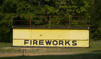 Big Yellow Wooden Fireworks Stand Shack Shed