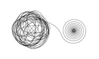 Accurate spiral flow from chaotic ravel of thin black lines on white