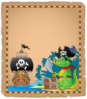 Parchment with pirate crocodile on coast