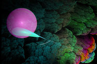 Abstract image of bright pink balls and feather