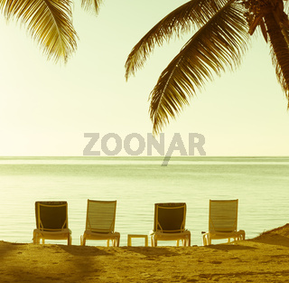 Beach Chairs Vintage Background