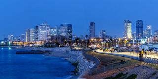Tel Aviv skyline panorama Israel blue hour city sea skyscrapers