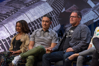 BONN, GERMANY - MAY 19th 2018: Kandyse McClure, Alessandro Juliani and Aaron Douglas at Fedcon 27