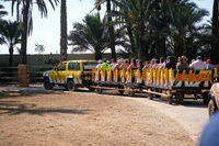 Safari car with tourists in zoo park, Elche, Spain