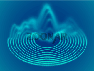 Big data abstract background. Flowing 3D sound waves.