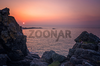 Sunset over the Cornish coast