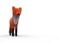 Toy red fox on white isolated 3d illustration