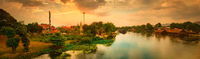 Sunset over Kwai river, Kanchanaburi, Thailand. Panorama