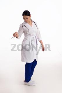 Nurse isolated on white background.