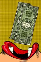 Woman eats money. Pop art style. Female mouth