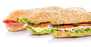 Baguette Brötchen mit Schinken Salami Käse Sandwich