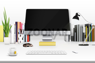 3d rendering of workspace with computer