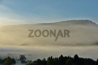 Nebel am Albtrauf, Fog in front of the swabian alb