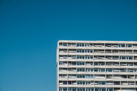 apartment building complex and blue sky copy space -