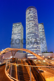 Tel Aviv Azrieli Center skyline Israel blue hour night bridge city skyscrapers portrait format modern architecture