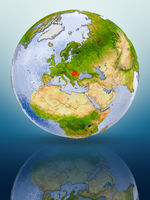 Romania on globe