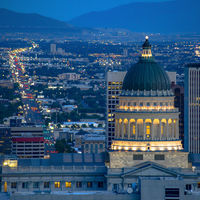 Utah State Capital Building and city at twilight