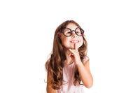 Cute girl wearing eyeglasses thinking