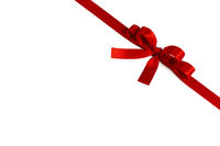 Shiny red satin ribbon bow