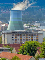 Apartment block in Dresden and a cooling tower