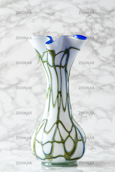 Vintage Handmade Glass Vase With Turquoise Pattern
