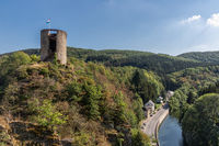 Aerial view castle ruin and village Esch-sur-Sure in Luxembourg