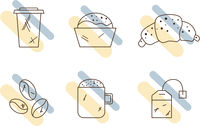 Set of linear coffee icons. Drinks icons