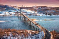 Beautiful bridge during sunset in Lofoten islands, Norway