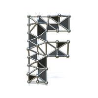 Wire low poly black metal Font Letter F 3D