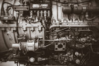 Old vintage airplane engine. Black and white photo