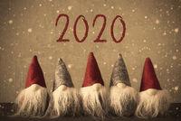 Five Gnomes, Snowflakes, Text 2020, Vintage Retro Look