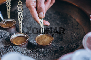 traditional coffee in the Turks, close view
