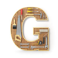 Letter G. Alphabet from the tools on the metal pegboard isolated on white.