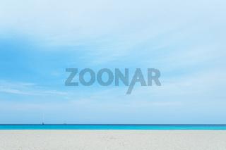 Beach on the beach of Formentera Island. Balearic Islands. Spain