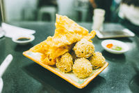 fried wanton and fish ball snack